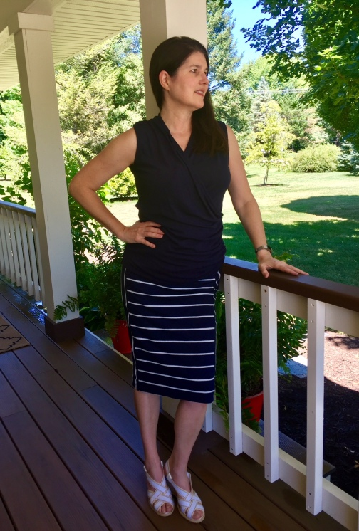 Stitch Fix navy blue white skirt