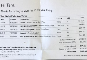 Stitch Fix Review invoice