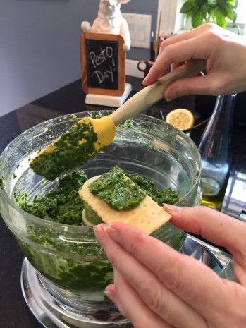 basil pesto cracker test